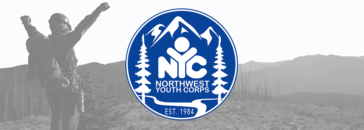 trail worker with hands in the air with NYC logo above